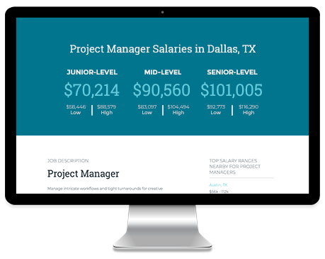 Computer screen with example salary ranges