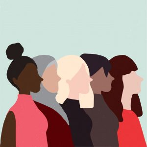 Illustration of five women of different backgrounds