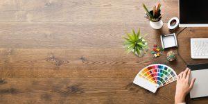 dark wood desk with succulent