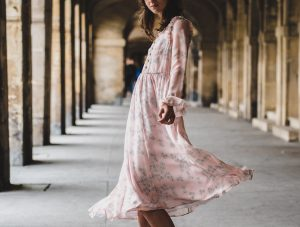 fashion-model-in-flowing-pink-dress