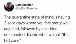 """The quarantine state of mind is having 3 solid days where you feel pretty well adjusted, followed by a sudden, unexpected dip into what we call """"the hell zone"""""""